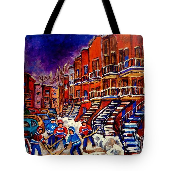 Paintings Of Montreal Hockey On Du Bullion Street Tote Bag by Carole Spandau