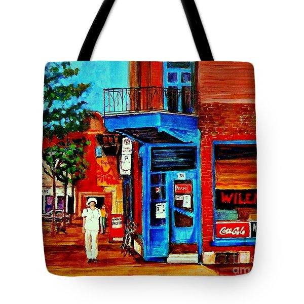 Paintings Of Montreal Memories Moe Wilenskys Famous Corner Deli  Montreal Spring City Scene Tote Bag by Carole Spandau