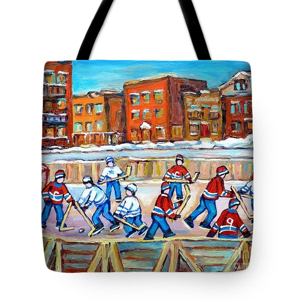Paintings  Verdun Rink Hockey Montreal Memories Canadiens And Maple Leaf Hockey Game Carole Spandau Tote Bag by Carole Spandau
