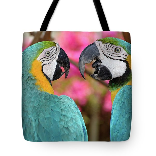 Pair Of Blue And Gold Macaws Engaged Tote Bag