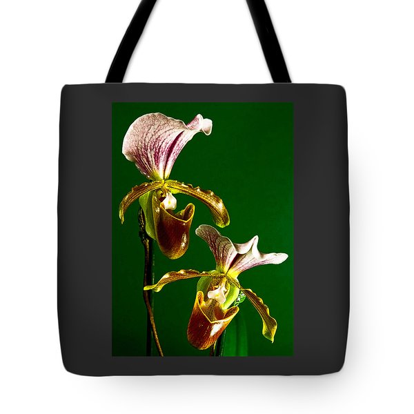 Pair Of Lady Slipper Orchids Tote Bag
