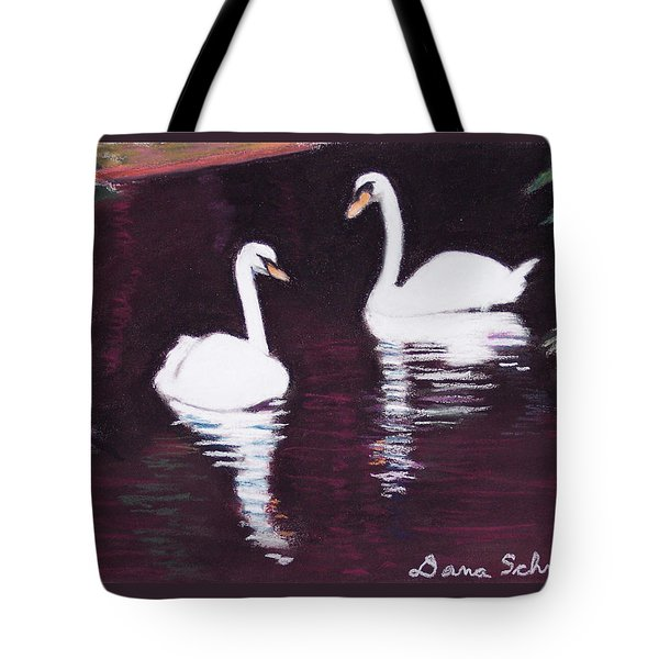 Pair Of White Swans Swimming Tote Bag