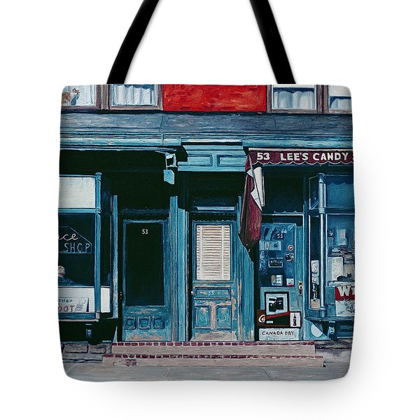 Palace Barber Shop And Lees Candy Store Tote Bag by Anthony Butera