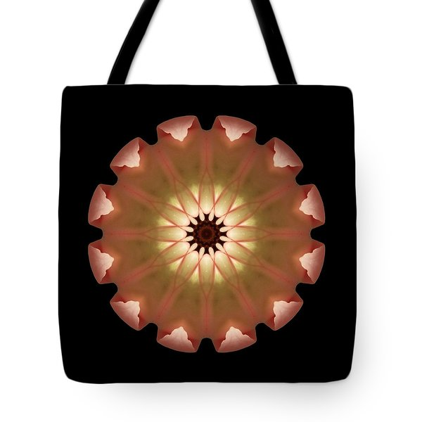 Tote Bag featuring the photograph Pale Pink Tulip Flower Mandala by David J Bookbinder