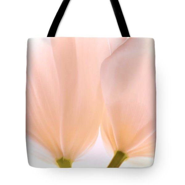 Pale Pink Tulips With Vignette Tote Bag