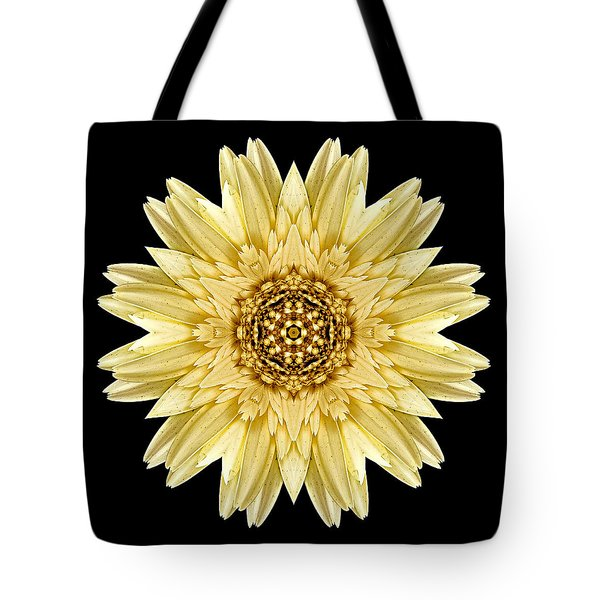 Tote Bag featuring the photograph Pale Yellow Gerbera Daisy I Flower Mandala by David J Bookbinder