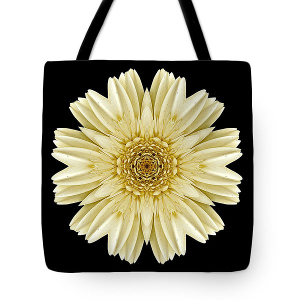 Tote Bag featuring the photograph Pale Yellow Gerbera Daisy IIi Flower Mandala by David J Bookbinder