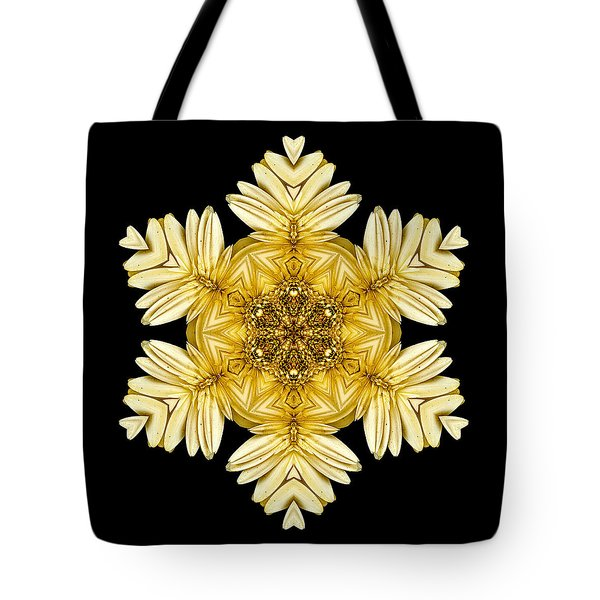 Tote Bag featuring the photograph Pale Yellow Gerbera Daisy Vii Flower Mandalaflower Mandala by David J Bookbinder