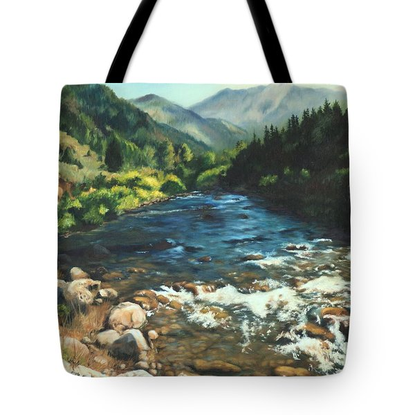 Palisades Creek  Tote Bag by Lori Brackett