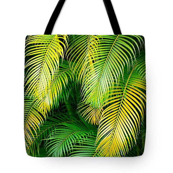 Palm Leaves In Green And Gold Tote Bag