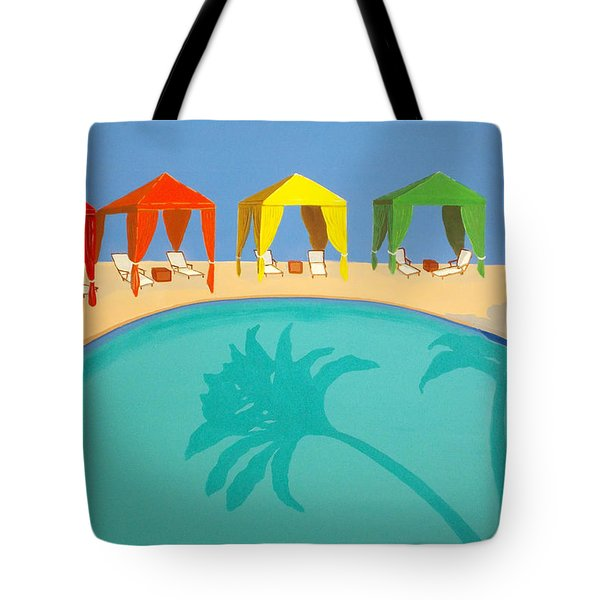 Palm Shadow Cabanas Tote Bag by Karyn Robinson