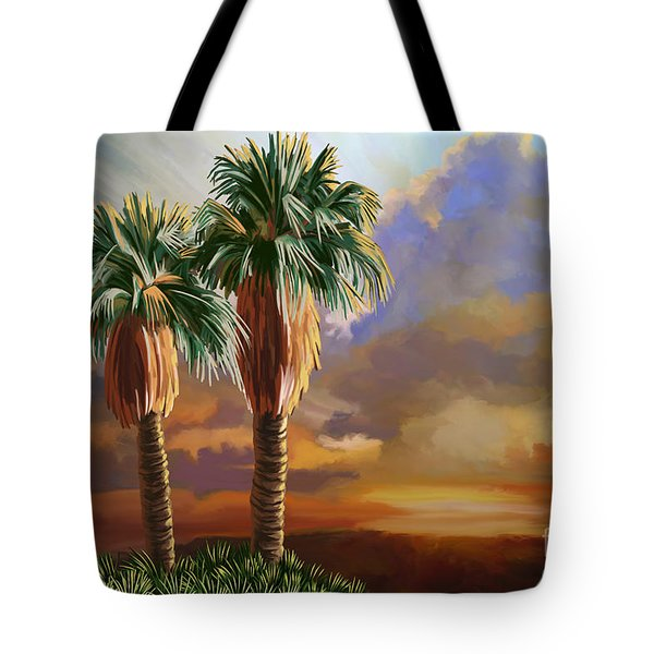 Tote Bag featuring the painting Palm Tree Cabo Sunset by Tim Gilliland