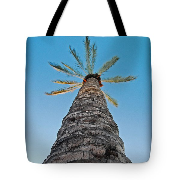 Tote Bag featuring the photograph Palm Tree Looking Up by Maggy Marsh