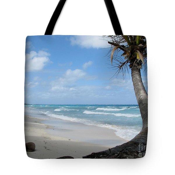 Palm Tree On The Beach Tote Bag
