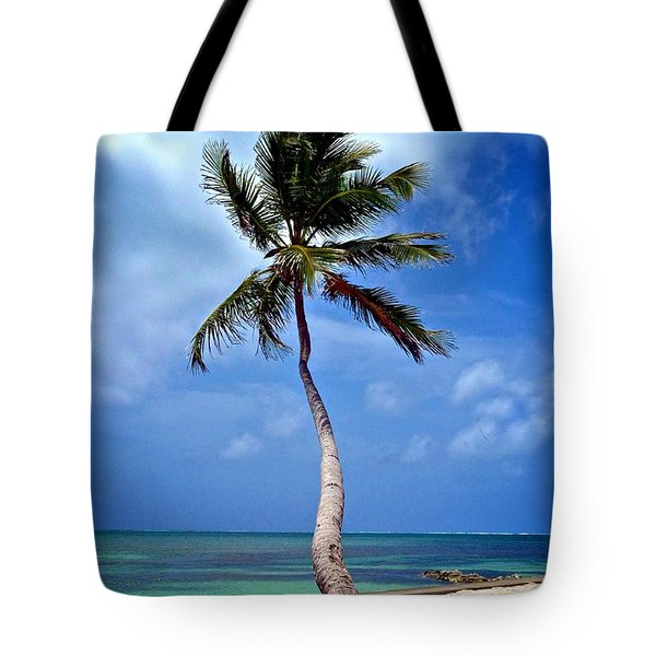 Palm Tree Swayed Tote Bag by Kristina Deane