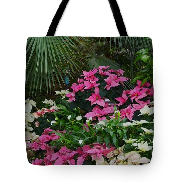 Palm Trees And Flowers Tote Bag by Kathleen Struckle