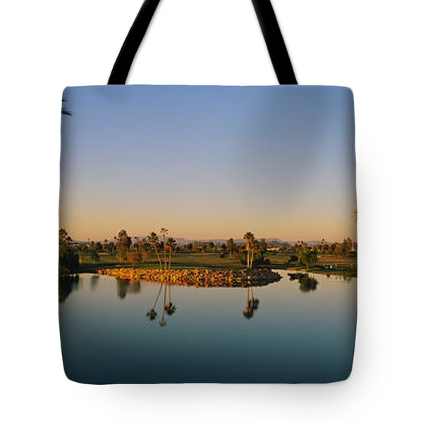 Palm Trees At The Lakeside, Phoenix Tote Bag