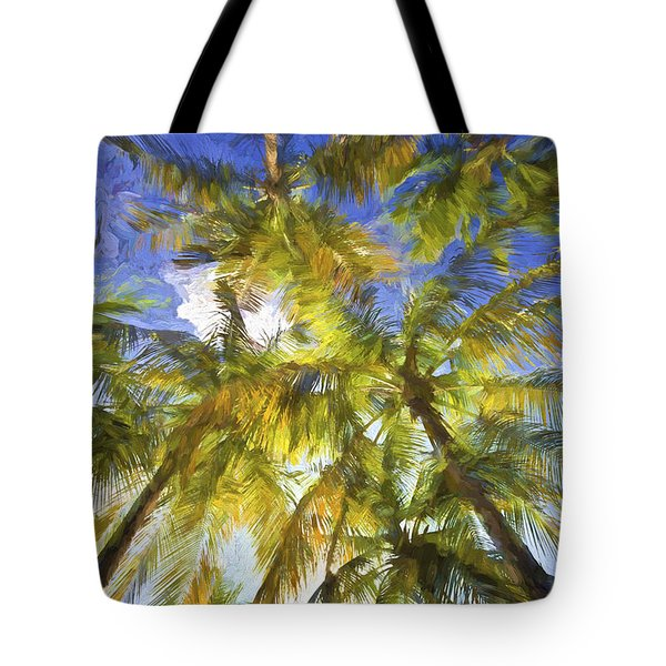 Tote Bag featuring the painting Palm Trees Of Aruba by David Letts