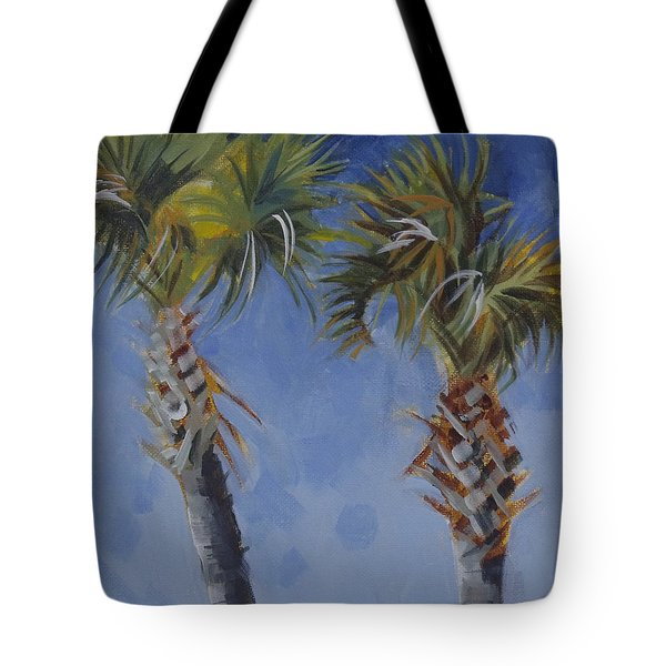 Palm Trees On Blue Tote Bag