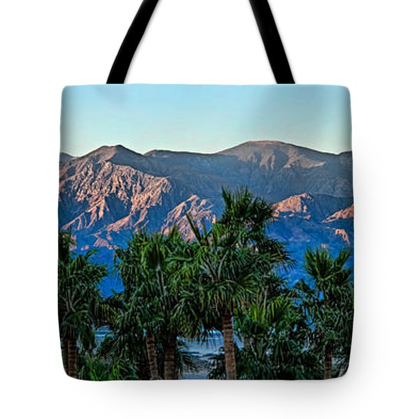 Palm Trees With Mountain Range Tote Bag