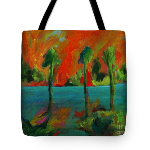 Palm Trio Sunset Tote Bag by Elizabeth Fontaine-Barr