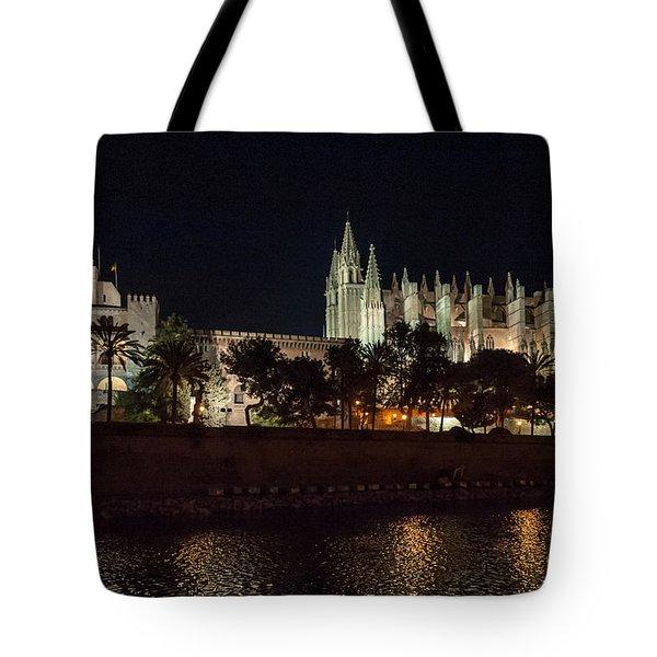 Palma Cathedral Mallorca At Night Tote Bag