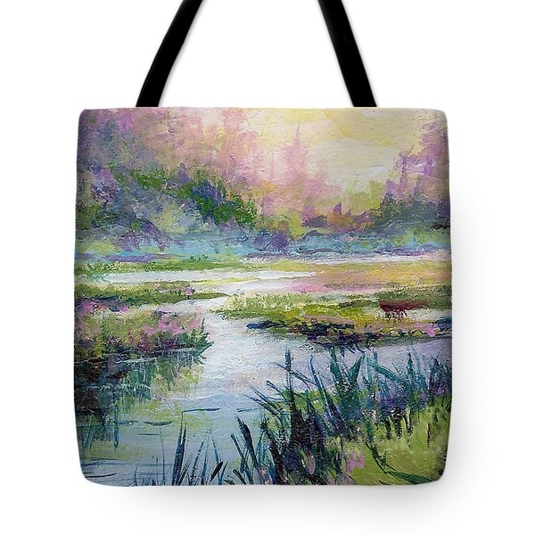 Tote Bag featuring the painting Palmer Hayflats by Karen Mattson