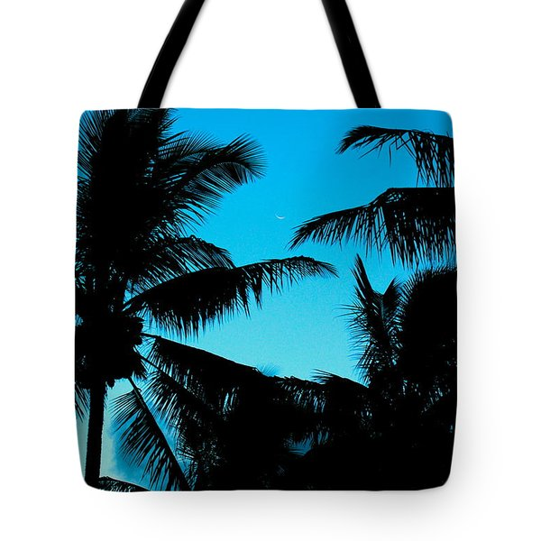 Palms At Dusk With Sliver Of Moon Tote Bag by Lehua Pekelo-Stearns