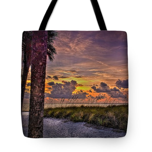 Palms Down To The Beach Tote Bag