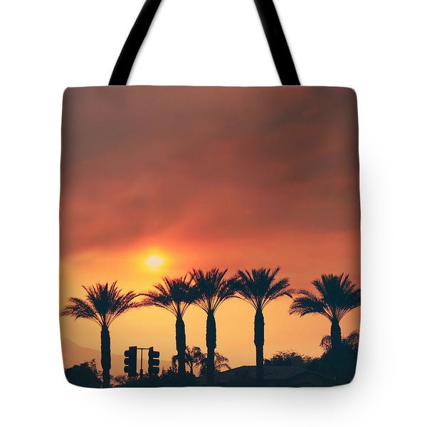 Palms On Fire Tote Bag by Laurie Search