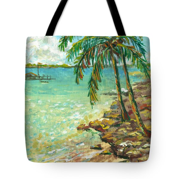 Palms On Point Of Rocks Tote Bag
