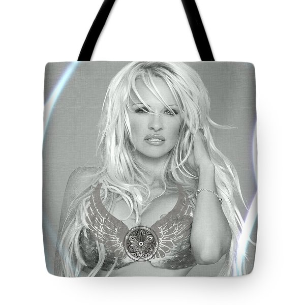 Tote Bag featuring the digital art Pamela Anderson - Angel Rays Of Light by Absinthe Art By Michelle LeAnn Scott