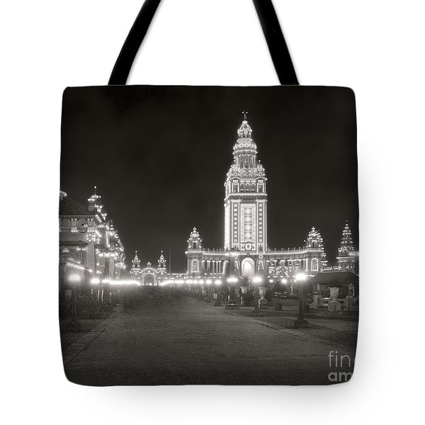 Tote Bag featuring the photograph Pan Am Night Tower 1901 by Martin Konopacki Restoration