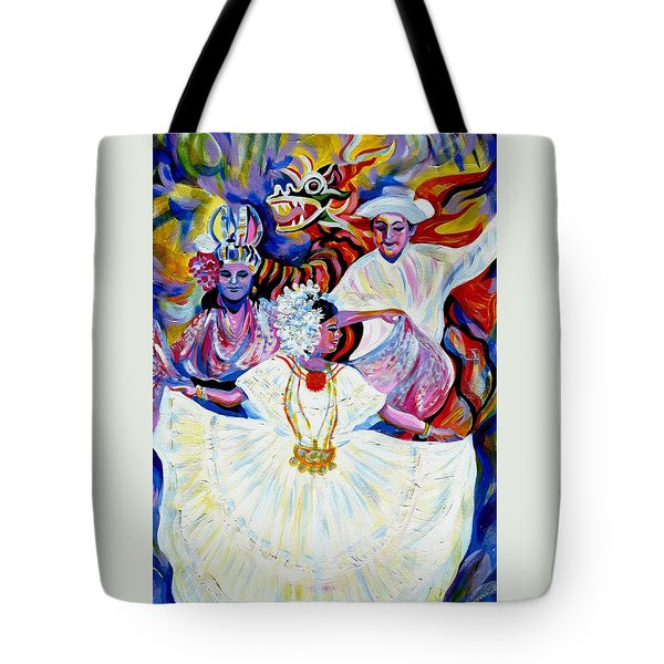 Tote Bag featuring the painting Panama Carnival. Fiesta by Anna  Duyunova