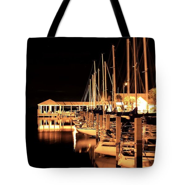 Panama City Marina Tote Bag by Debra Forand