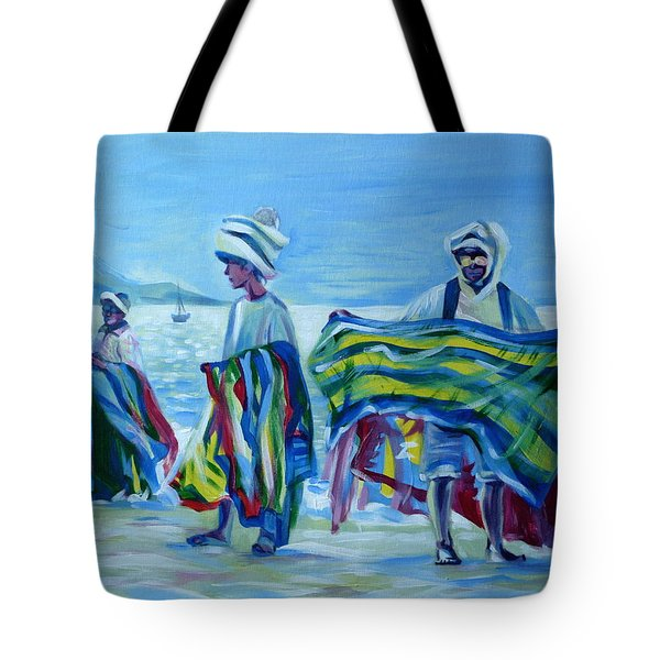 Tote Bag featuring the painting Panama.beach Market by Anna  Duyunova
