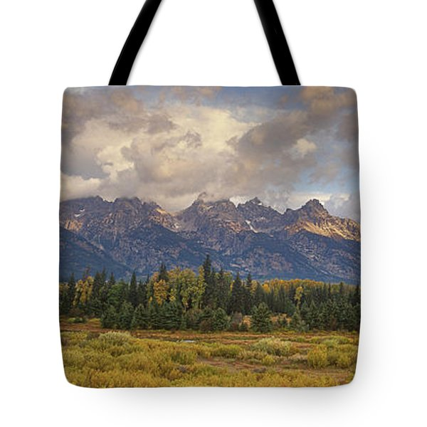 Tote Bag featuring the photograph Panaroma Clearing Storm On A Fall Morning In Grand Tetons National Park by Dave Welling