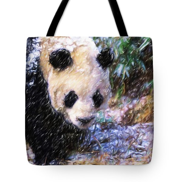 Panda Bear Walking In Forest Tote Bag by Lanjee Chee