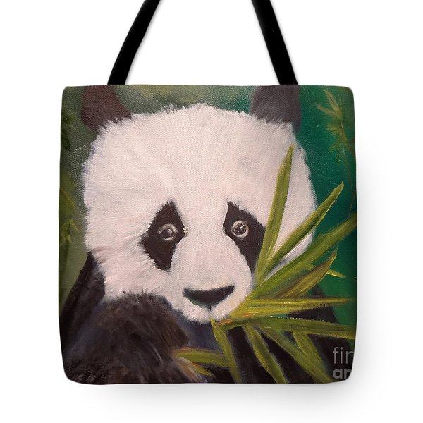 Tote Bag featuring the painting Panda by Jenny Lee
