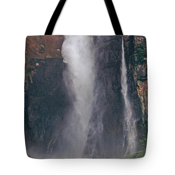 Panorama Angel Falls In Canaima National Park Venezuela Tote Bag by Dave Welling