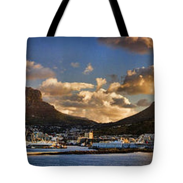 Panorama Cape Town Harbour At Sunset Tote Bag