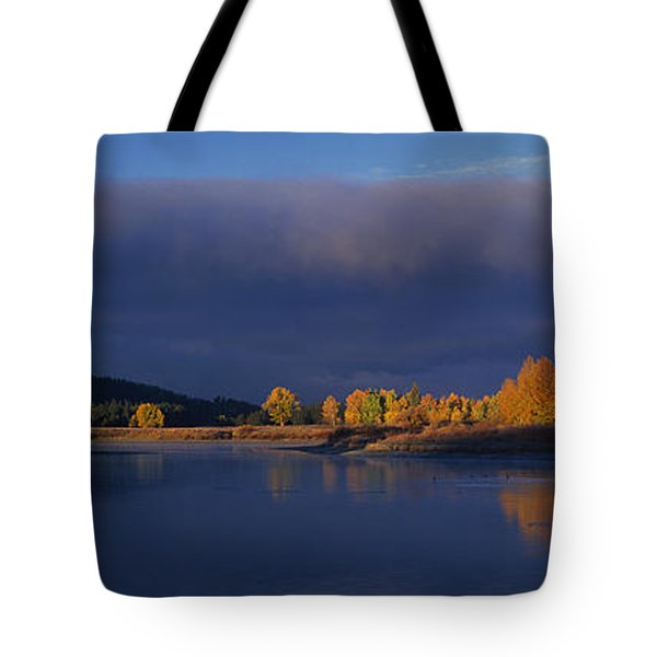 Tote Bag featuring the photograph Panorama Clearing Storm Oxbow Bend Grand Tetons National Park Wyoming by Dave Welling