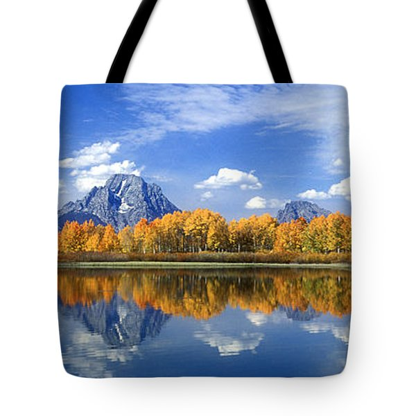Tote Bag featuring the photograph Panorama Fall Morning At Oxbow Bend Grand Tetons National Park by Dave Welling