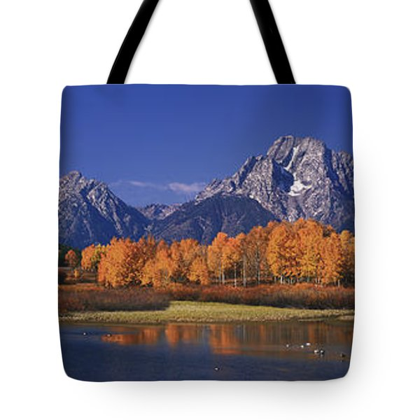 Panorama Fall Morning Oxbow Bend Grand Tetons National Park Wyoming Tote Bag