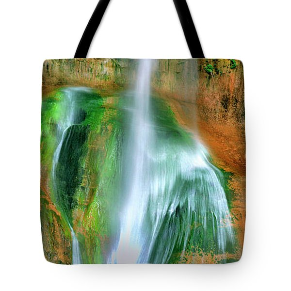 Tote Bag featuring the photograph Panorama Lower Calf Creek Falls Escalante Nm Utah by Dave Welling