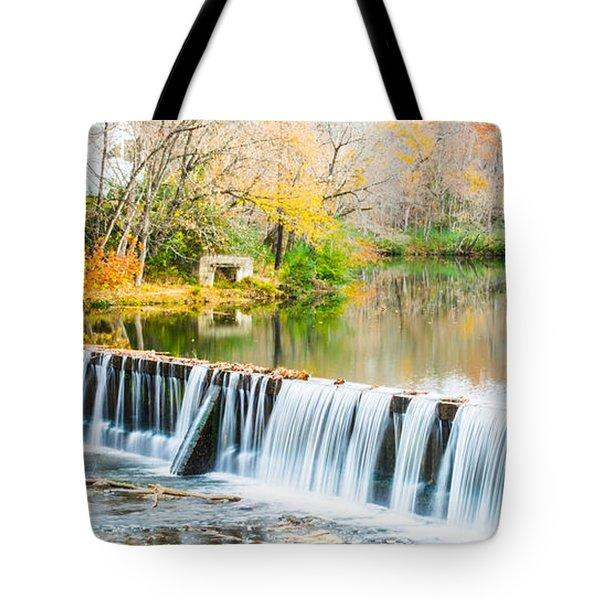 Panorama Of Buck Creek In Autumn Tote Bag