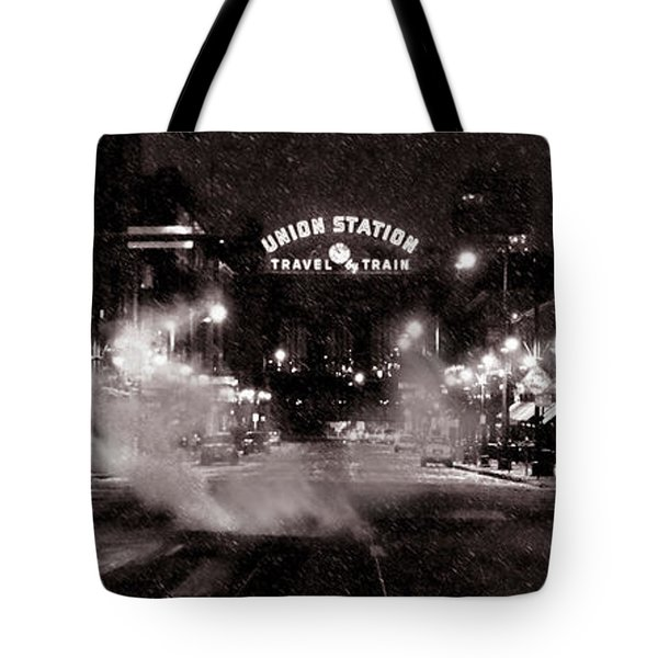 Panorama Of Denver Union Station During Snow Storm Tote Bag by Ken Smith