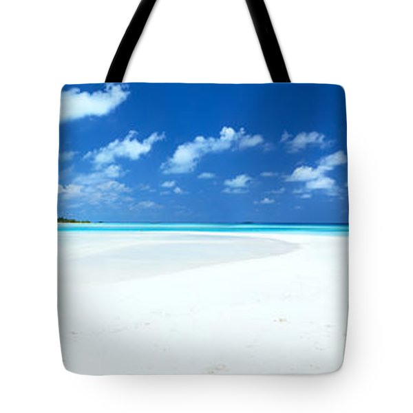 Panorama Of Deserted Sandy Beach And Island Maldives Tote Bag by Matteo Colombo