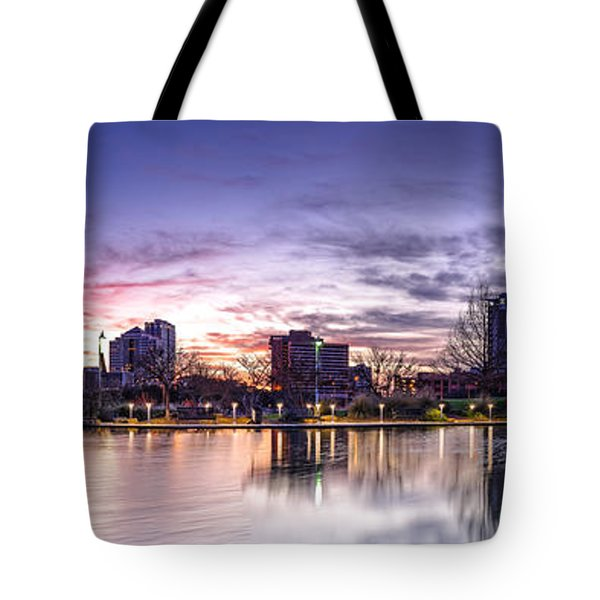 Panorama Of Downtown Austin At Dawn From The Long Center For Performing Arts - Texas Hill Country Tote Bag