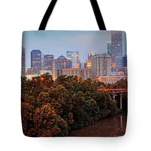 Panorama Of Downtown Houston At Dawn - Texas Tote Bag